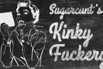 "Image composite with a blackboard background featuring the outline of someone reading a book with their pencil in their mouth, and the text ""Sugarcunt's Kinky Fuckery"". All the text and lineart appear to be chalk."