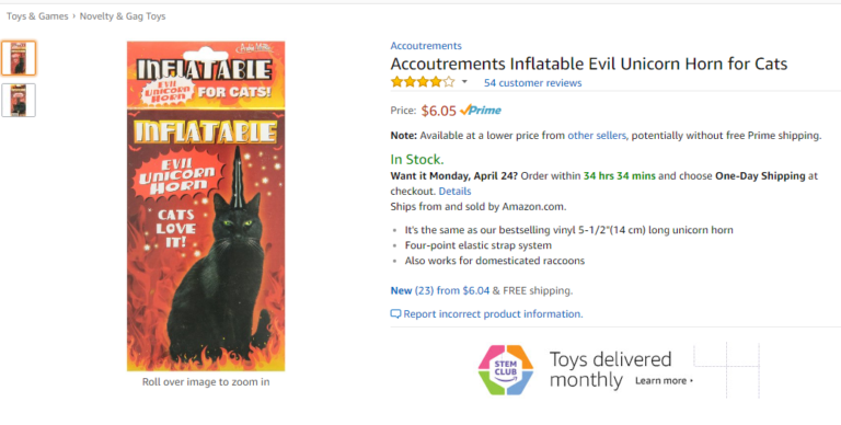 Screenshot  of the Amazon listing for the Accoutrements Inflatable Evil Unicorn Horn for cats. It is roughly $7, and the product photo shows a box with a black cat sitting on the front, wearing the black inflatable horn.
