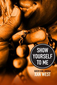 Book Cover for Show Yourself To Me, featuring the title, as well as Xan West's name. The photo on the cover is someone's holding the chain of a leash or clamp and brushing their thumb over the bottom partner's lips. The entire cover is tinted sepia.