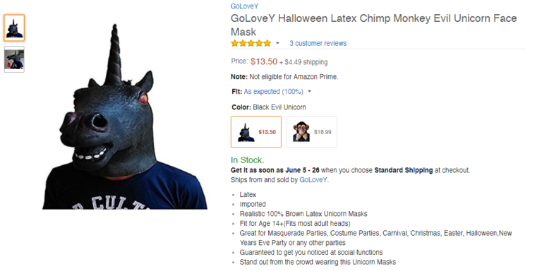 Screenshot of an Amazon product listing for an evil unicorn mask. The product photo is a person wearing a menacing black unicorn mask with red eyes.