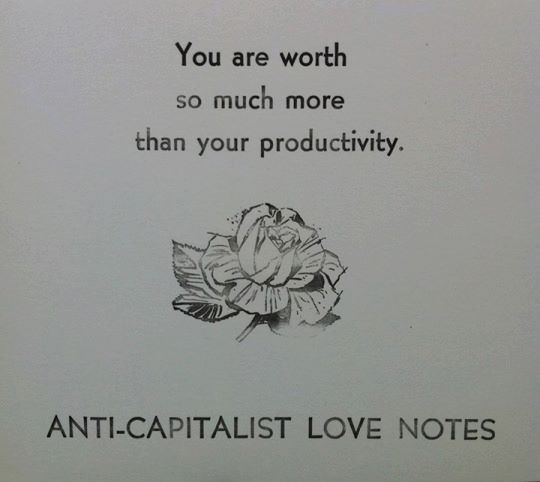 "White background with faded print reading: You are worth so much more than your productivity."" Beneath those lines sits an illustration of a rose, and beneath that an allcaps line of text reads: ""Anti-capitalist love notes."""