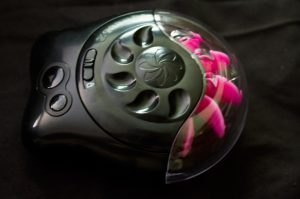 The Lovehoney Sqweel sits on a black background. It is black and very large, black plastic with buttons on one side, and on the other side a set of pink silicone tongues protrude, so that when you turn the toy on the tongues lap like a water wheel.