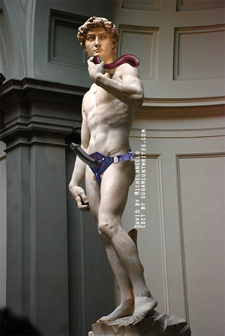 Image composite of the Statue of David with a Tantus harness and strap-on on his hips, and a NobEssence Seducation lying along his arm.