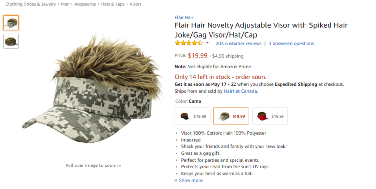 Screenshot of the Amazon product page for Flair Hair. The product image shows that Flair Hair is a visor with a built-in spiky wig. The Flair Hair in the picture is a camo visor with dark blonde hair that has frosted tips.
