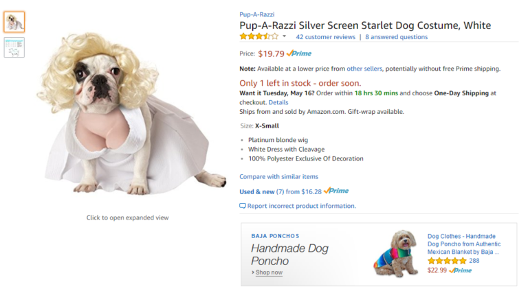 Screenshot of the Amazon listing for the Pup-A-Razzi Silver Screen Starlet Dog Costume. The product photo shows a bulldog in a white dress and blonde with with a ridiculous span of human cleavage above the dress' bustline.